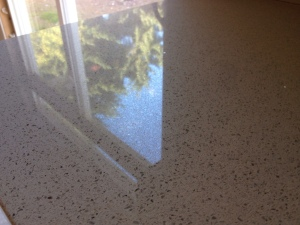 Glossy countertop reflection