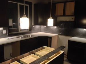 Kitchen lit up at night